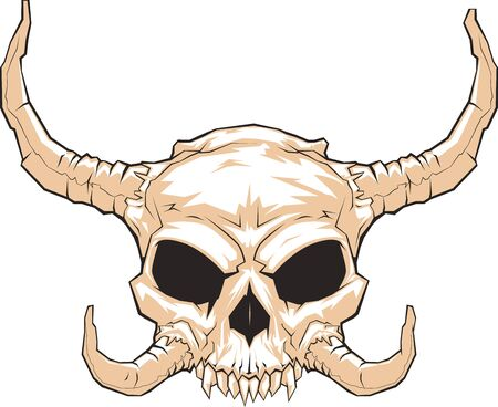 fearful: Frightening horned skull Illustration