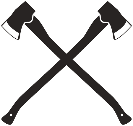 Silhouettes of two crossed axes on a white background