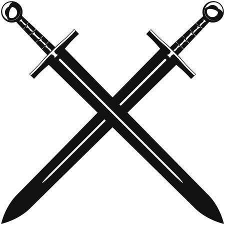 Two crossed swords on a white background
