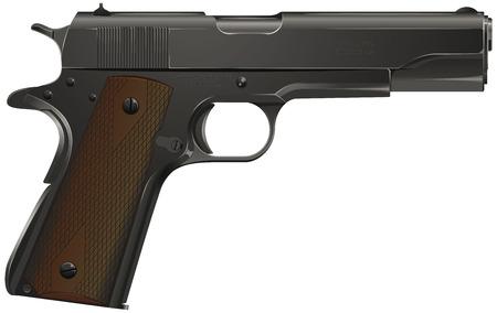 Metal gun on white background, vector illustration.