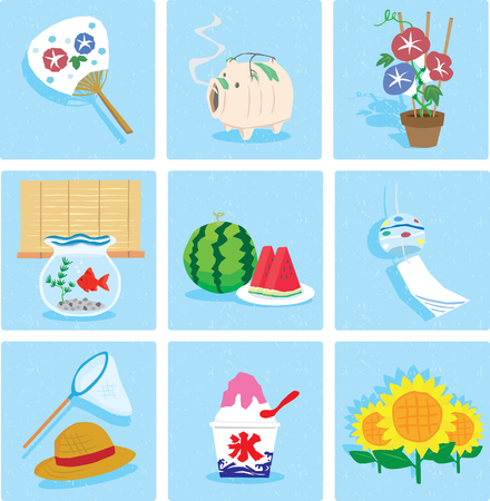 Watermelon, Fan, Wind bell, Pig, Morning glory, Ice, Goldfish, Straw hat, Sunflower, Icon set