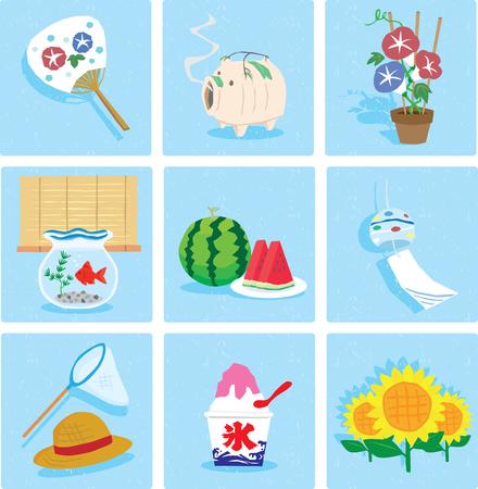 수박, 팬, 바람 종, 돼지, 나팔꽃, 얼음, 금붕어, 밀짚 모자, 해바라기, 아이콘 세트