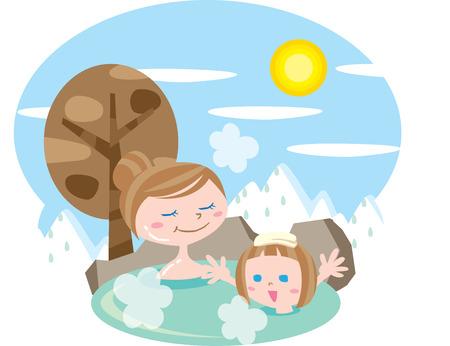 hot: Hot spring Illustration
