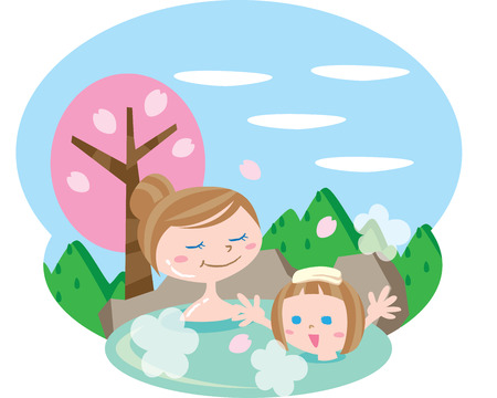 hot: Hot spring Illustration