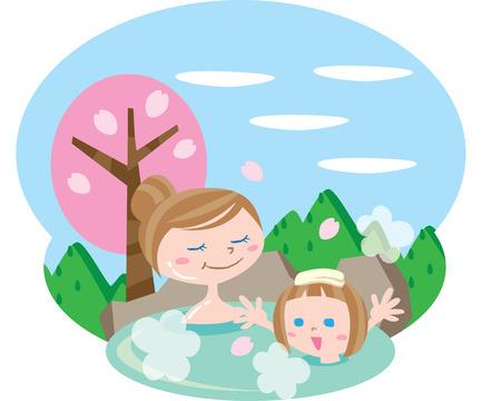 Hot spring Illustration