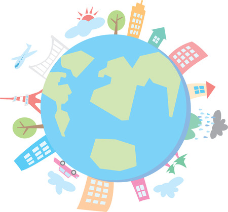 The global community earth and houses. World with buildings illustration