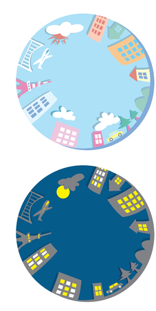 global village: The global community earth and houses. World with buildings illustration