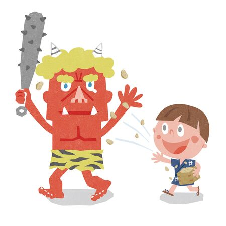 japanese people: Setsubun sushi lucky direction winding. Setsubun:Japanese traditional event on February 3. People throw soy-beans at devil.