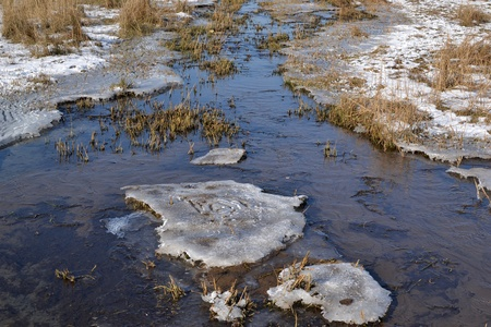 froze: Froze runnel with ice and snow in nature area Lentevreugd in Wassenaar, The Netherlands  Stock Photo