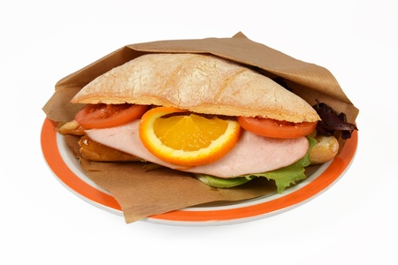 luxuriously: Luxuriously sandwich chicken with mango on white context roll  Stock Photo