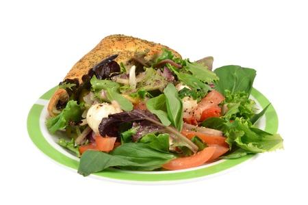Caprese Salad Focaccia Focaccia on a white background. Stock Photo
