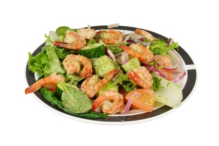 Oriental prawns shrimp salad a white background. Stock Photo - 13566332