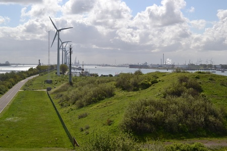 On the headland at Rozenburg is much industry to see but also nature, the port of Rotterdam  The Netherlands  Stock Photo