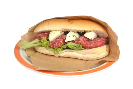 Buns lettuce and egg roll sausage beef sausage with oxen on a white background  Stock Photo