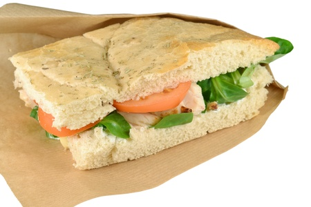 Upscale sandwich with chicken strips on a white background  Stock Photo