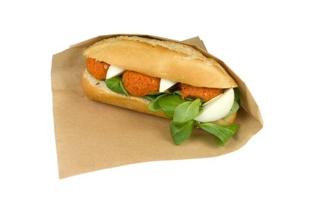 steak tartare: Luxurious steak tartare with egg sandwich on white background