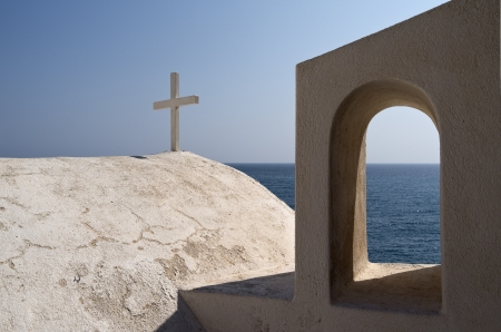 house of prayer: Greece, Santorini, Kamari, island, architecture, church, dome, house of prayer, faith, cross, oratory, architecture, stucco, house of faith, religious, respect, roof, architecture, sunny, traditional, culture, mediterranean, Europe, cyclades, touristich,  Stock Photo