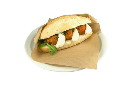 Luxury sandwich steak tartare with egg on white background