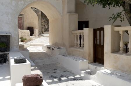 Stone stairs in Kamari on the island of Santorini in Greece  Stock Photo