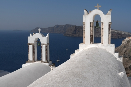 Churches in Oia on Santorini island in Greece  photo