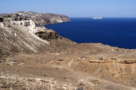 Vista in Megalochori on the island of Santorini in Greece  Stock Photo