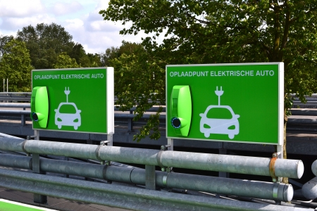 Charging station for electric cars in a parking lot at Leidsenhage shopping center in Leidschendam, Netherlands  Stock Photo