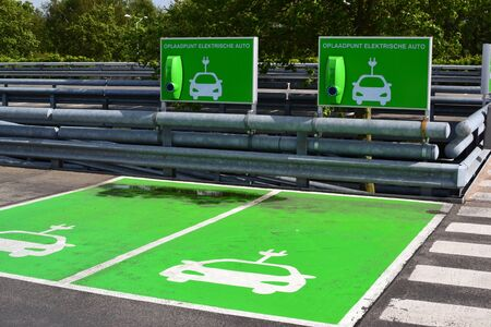 Charging station for electric cars in a parking lot at Leidsenhage shopping center in Leidschendam, Netherlands  photo
