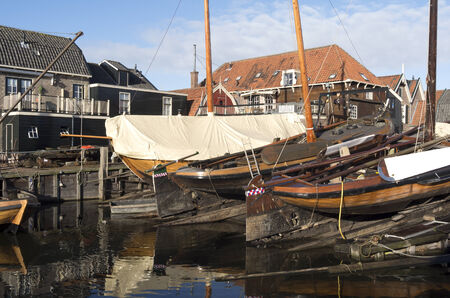 Boat yard for fishing boats in the port of Spakenburg in the Netherlands  Stock Photo