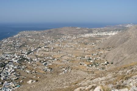View of Perissa on the island Santorini  Stock Photo