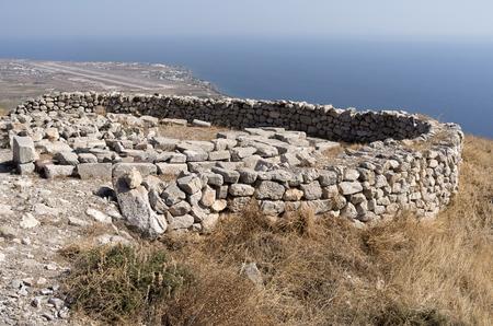 Ancient Thera on Santorini island in Greece  Stock Photo