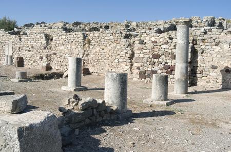 ancient greece: Ancient Thera on Santorini island in Greece  Stock Photo