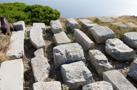 thera: Ancient Thera on Santorini island in Greece  Stock Photo