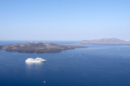 thira: View of Thira at Santorini island in Greece