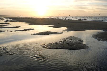 Sunset on the beach at Wassenaar in the Netherlands