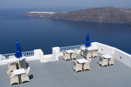 Terrace of a resort in Oia on Santorini island in Greece