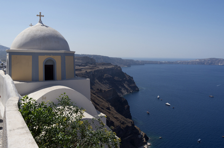 thira: Church in Thira on Santorini island in Greece