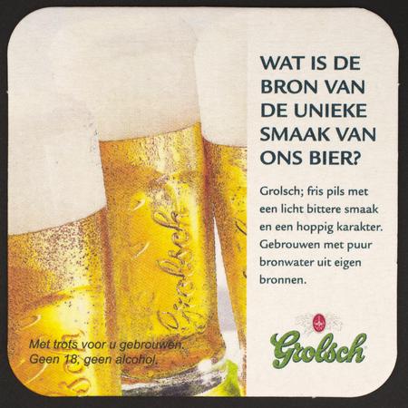NETHERLANDS - DECEMBER 2013 - Grolsch beer felt 400 years character  The campaign action  under 18, no alcohol