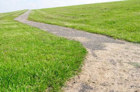 lemmer: Walkway on a dyke in Lemmer, Netherlands