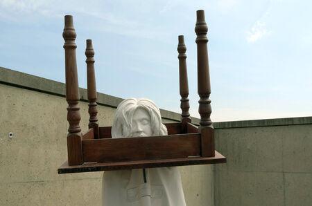 testimony: NETHERLANDS - SCHEVENINGEN - CIRCA JULY 2014  The Testimony artwork by artist Gijs Assmann at Museum Sculptures by the Sea
