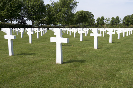 NETHERLANDS - MARGRATEN - CIRCA JUNE 2014  Crosses on military graves of fallen U S  soldiers at the Netherlands American Cemetery and Memorial  Sajtókép