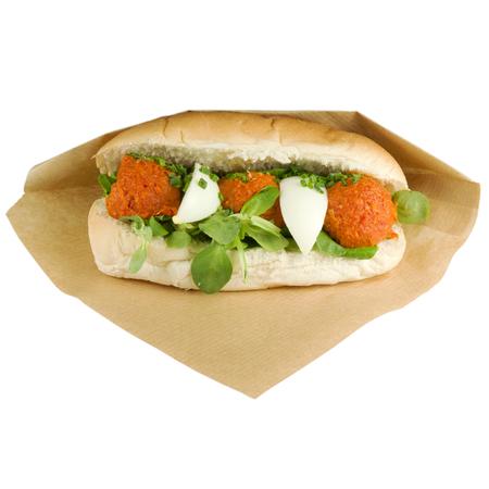 steak tartare: Luxury sandwich steak tartare with egg on white background.