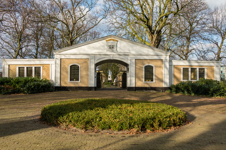 gatehouse: NETHERLANDS - VOORBURG - CIRCA DECEMBER 2014: Gatehouse at the General Cemetery Parkweg.