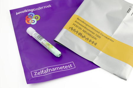 cancer screening: NETHERLANDS - DELFT - CIRCA DECEMBER 2014: Call for colon cancer screening.