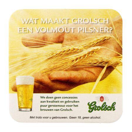 trivet: NETHERLANDS - DELFT - CIRCA JANUARY 2015: Beer coaster for advertising for Grolsch volmout.