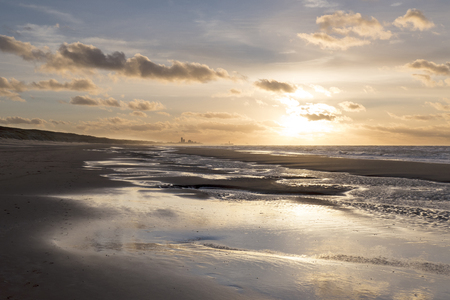 Sunset on the beach at Wassenaar in the Netherlands.