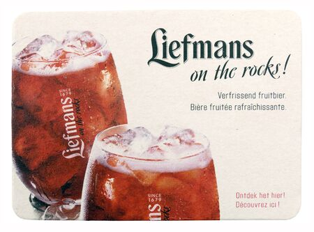 NETHERLANDS - DELFT - CIRCA FEBRUARY 2015: Liefmans coaster with advertisements for fruit beer.