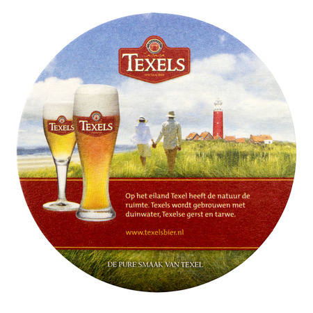special agent: NETHERLANDS - DELFT - CIRCA FEBRUARY 2015: Texel coaster advertising the pure taste of Texel. Editorial