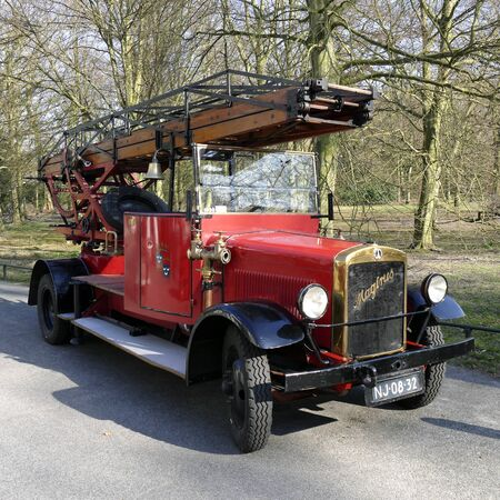 old timer: NETHERLANDS - WASSENAAR - CIRCA MARCH 2015: Magirus old timer fire truck from the fire department in Wassenaar.