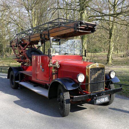 antique fire truck: NETHERLANDS - WASSENAAR - CIRCA MARCH 2015: Magirus old timer fire truck from the fire department in Wassenaar.