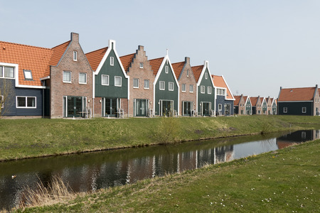 volendam: NETHERLANDS - VOLENDAM- CIRCA APRIL 2015: Cottages in the Marina Park at Volendam Roompot parks.